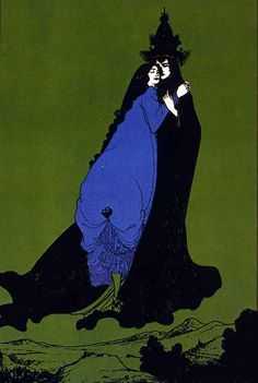 Couple Embracing in the Sky by Aubrey Beardsley (English 1872-1898)