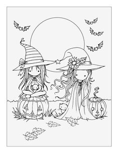 Little Halloween Witches Free Coloring Page By Molly Harrison Mollyharrisonart
