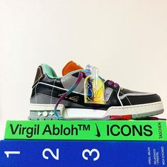 """TAKECHIN on Instagram: """"LV Trainer Upcycle♻️ . . . First Model💚🧡💜💙 . . . . . #virgilabloh #louisvuitton #f4f #lv #lvtrainer #upcycle #recycle #art #artist #artwork…"""" Virgil Abloh, Types Of Shoes, Trainers, Upcycle, Shoes Sneakers, Louis Vuitton, Model, Fashion, Tennis"""