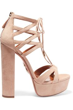 Heel measures approximately 150mm/ 6 inches with a 35mm/ 1 inch platform Pale-beige suede Zip fastening along back Designer color: Biscotto Made in Italy