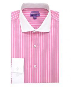 Men's Slim Fit Dress Shirt by Ferrecci - Pitt - Pink/Stripe