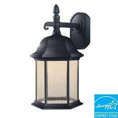 Hampton Bay Oxford Collection Wall-Mount Outdoor Black 8 in. LED at The Home Depot Led Lantern, Wall Lantern, Lanterns, Outdoor Lantern, Black Lantern, Outdoor Sconces, Outdoor Wall Lighting, Coastal Lighting, Home Depot