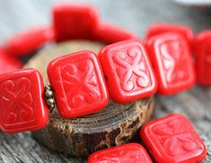 8pc Opaque Red Beads, 12mm Rectangle Swirls, Carved czech glass Scrolls pressed beads - 12x11mm - 1563 by MayaHoney on Etsy