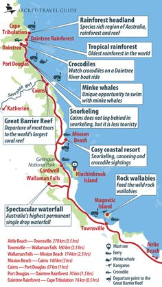 Map of Queensland - Airlie Beach to Cairns