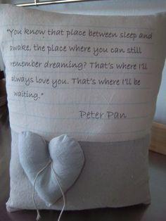 Peter Pan throw pillow handmade love quote J by SweetMeadowDesigns, $31.00
