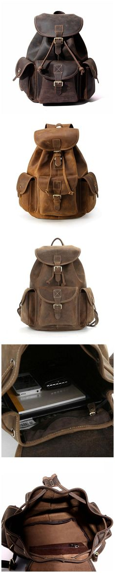 Men's Bags Luggage & Bags New Luxury Cow Leather Mens Travel Backpack Vintage Soft Solid String Rucksack Overnight Weekend Bag Brown Men