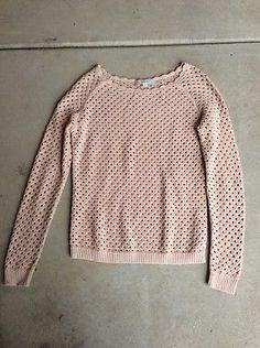 Ann Taylor Loft Pink Knit Ling Sleeve Sweater Womens Sz S*