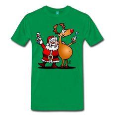 Santa Claus and his Reindeer T-Shirt. #Spreadshirt #Cardvibes #Tekenaartje #Christmas #Santa #gift #SOLD