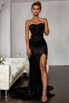 5f19c054e137 Black Sequin Glitter Spaghetti Strap Backless Sparkly Mermaid Banquet  Evening Party Maxi Dress | Buyable in 2019 | Dresses, Black mermaid dress,  ...