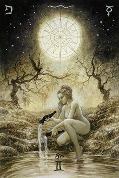 The Labyrinth Tarot - Luis Royo Fantasy Boris Vallejo, Vampires, Art Magique, Star Tarot, Star Goddess, Tarot Major Arcana, Luis Royo, Mystique, Spanish Artists