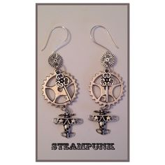 """Steampunk Earrings These earrings are 2 1/4"""" long and hang from French wires. Steampunk Grandma Jewelry Earrings"""