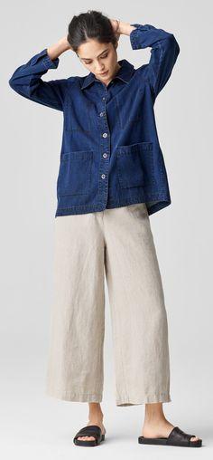 Tencel Organic Cotton Denim Shirt Jacket. Heavy Organic Linen Cropped Wide-Leg Pant. Pear 2 Slide.