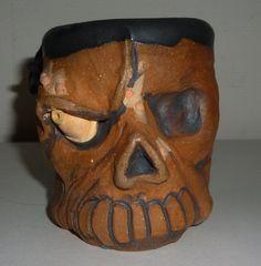 Handmade Brown Skull Mug Cup WIth Serpent Handle Judhe Jensen of Topeka Kansas