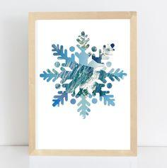 Schneestern Nr.1, Collage, Janine Sommer, Siebensachen, Weihnachten, Weihnachtsdekoration, Schneeflocke, Schneekristall