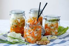 In addition to taking our we also like to eat foods that are good for our gut health, like kimchi! Do you like fermented foods? Best Probiotic, Probiotic Foods, Fermented Foods, Fermented Cabbage, Healthy Recipes, Asian Recipes, Cooking Recipes, Ethnic Recipes, Garlic Recipes