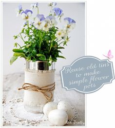 Turning old tin cans into flower pots
