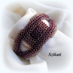 Beaded Beige/Eggplant Cuff Bracelet Seed Bead Bracelet by Szikati
