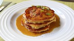 Mancakes - Bacon, Green Onion, & Cheddar Corn Pancakes Recipe - Father's...  Wow. Bacon. Yum.