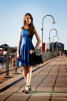 oufit vestido azul