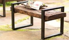 Reclaimed Wood and Iron Outdoor Garden Bench Plow and Hearth Reclaimed Wood And Iron Outdoor Bench i Diy Garden Furniture, Iron Furniture, Steel Furniture, Handmade Furniture, Furniture Projects, Furniture Plans, Furniture Decor, Furniture Design, Outdoor Furniture