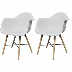 White Curved Dining Chair With Armrests and Solid Beech Wood Legs for sale online Dining Room Storage, Dining Room Sets, White Dining Chairs, Dining Room Chairs, Tuscan Dining Rooms, Chair Pictures, Small Dining, Home Decor, Walmart