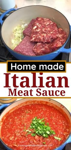 Homemade Italian Spaghetti Sauce, Spaghetti Sauce Easy, Italian Meat Sauce, Homemade Meat Sauce, Italian Sausage Recipes, Homemade Lasagna, Italian Meats, Spaghetti Recipes, Homemade Pasta Sauce Easy