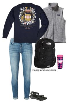 """""""School outfit"""" by sassy-and-southern ❤ liked on Polyvore featuring Patagonia, Current/Elliott, The North Face, Lilly Pulitzer, Chaco and sassysouthernfall"""