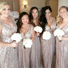 2016 wedding trends sequined and metallic bridesmaid dresses sequin v neck sexy shinning cheap long wedding bridesmaid dresses wg364 junglespirit Images