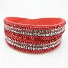 [ 87% OFF ] Double Wrap Bracelet Leather Wrap Bracelet Magnetic Wristband Crystal Full Rhinestone Bling Wrap Bracelets
