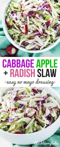 Cabbage Radish and Apple Slaw Recipe: Perfect for hot summer barbecues! Sweet vinegar dressing with NO MAYO! Recipe by @michelle_goth at Blackberry Babe. www.blackberrybabe.com