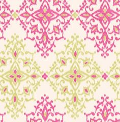 Kimi (M0709) - Crown Wallpapers - A beautiful all over damask design in a watercolour ikat effect. Showing in citrine pink and lime green - more colours are available. Please request a sample for true colour match.