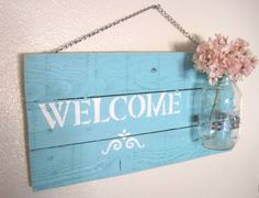 Distressed wood welcome sign with mason jar, reclaimed wood, hanging welcome sign, mason jar welcome sign, pallet welcome, mason jar pallet by DandMTrends on Etsy https://www.etsy.com/listing/214599126/distressed-wood-welcome-sign-with-mason