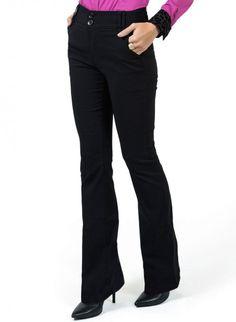 calca feminina flare cintura alta preta principessa dina look