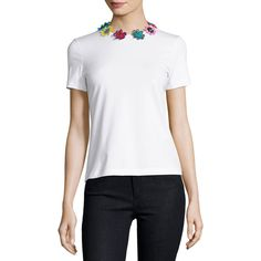 Mary Katrantzou Short-Sleeve Tee w/Daisy Appliques ($370) ❤ liked on Polyvore featuring tops, t-shirts, white, women's apparel tops, white t shirt, white round neck t shirt, short sleeve pullover, slim fit white t shirt and slim tees
