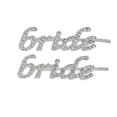 Lux Accessories Silvertone Bling Bridal 'Bride' Hair Bobby Pin Set (2PC) * Check this awesome product by going to the link at the image.