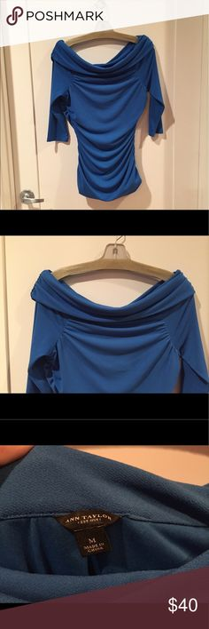 ✨SALE!✨ Off-the-shoulder top by Ann Taylor *MAKE ME AN OFFER!*  Lovely, RARE off-the-shoulder cerulean blue top by Ann Taylor.  Ruched down the sides with fold-over neckline; very flattering!  Hits at high hip. Worn only a few times. Polyester spandex. Incredibly comfortable and elegant. Pair with black slacks or pencil skirt for maximum impact. Ann Taylor Tops