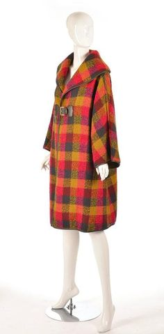 Rare 1950's Bonnie Cashin Wool and Leather Plaid Coat 3