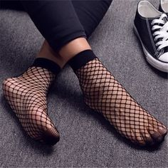 Punk Women Girls Sexy Black Hollow Out Breathable Mesh Fishnet Socks Female Gothic Stretchable Short Hosiery Ankle Socks
