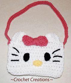 Kitty purse pattern hats, hello kitti, kitti purs, bag, crochet purses, crochet patterns, hello kitty, purse patterns, crochet hello