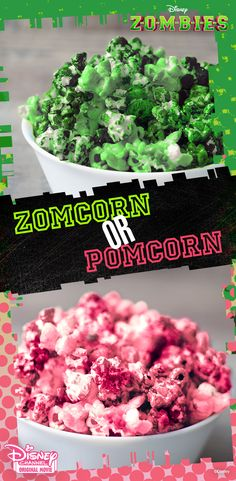 Would you rather pop a little  ZOMCORN or POMCORN? Check out these recipes for a totally Zombified ZOMBIES party!