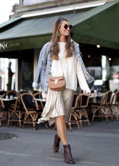 Autumn look, Clarks ankle boots, neutrals, pleated skirt, denim jacket