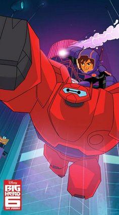 Hiro Hamada and Baymax as Superheroes from Big Hero 6 TV series Best Disney Movies, Kid Movies, Disney Films, Disney Characters, Disney Xd, Disney Marvel, Disney Magic, Big Hero 6 Baymax, Disney Wallpaper