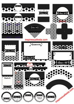 kit-personalizados-Anos-60_Inspire sua Festa Start The Party, Twist And Shout, 80s Party, 60th Birthday, Playing Cards, Clip Art, Printables, Scrapbook, Digital