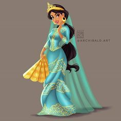 Disney Princesses x : Jasmine . Jasmine wears a Maranao Princess Attire. The traditional color is always gold but Jasmine has a signature teal/aqua dress, and she has gold accessories. Which i added gold details to her dress in here . Disneyland Princess, Disney Princess Fashion, Disney Princess Art, Disney Fan Art, Disney Style, Disney Fashion, Princesa Disney Jasmine, Disney Princess Jasmine, Aladdin And Jasmine