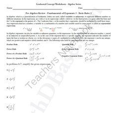 Basic Algebra Review Worksheet