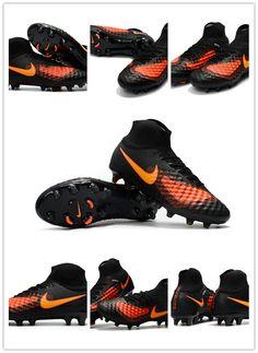 new styles 8192a 7e077 Nike Magista Obra II FG Nouveau Chaussure de Foot Noir Orange Trois  technologies : Flyknit,