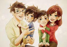 Hiro Hamada and Tadashi and their Mom and Dad, their parents The Big Hero, Hiro Big Hero 6, The Big Four, Tadashi Hamada, Hiro Hamada, New Disney Movies, Disney Art, Disney Characters, Baymax