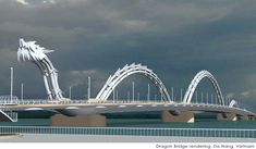 Louis Berger's concept art for the Dragon Bridge.  To celebrate the 38th anniversary of the liberation of Da Nang, the government of Vietnam has constructed the world's largest dragon-shaped bridge over the Han River. Not only is it the steel bridge the largest of its type in the world, but it is covered in over 2,500 LED lights - and it breathes fire.