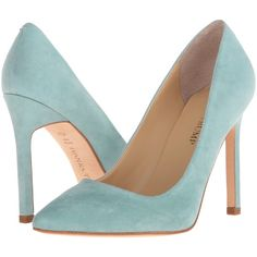 Ivanka Trump Carra (Dark Mint) High Heels ($95) ❤ liked on Polyvore featuring shoes, sandals, blue, mint green shoes, blue high heel sandals, blue sandals, mint shoes and slip on sandals