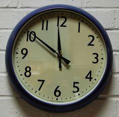 Gorgeous 1960s Vintage Industrial Factory Blue Purple Wall Clock Battery Movement FWO  - Fab colour